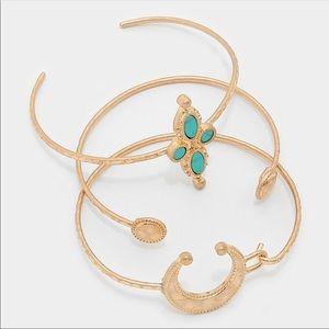 🌙Geometric Turquoise & Metal Crescent Bracelet🌙